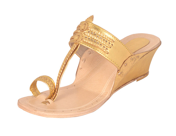 Women Kapsi Wedge Gold Kolhapuri Chappal