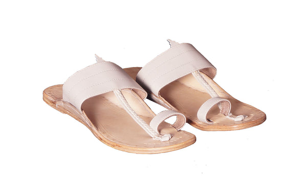 Men Beige Plain upper Leather Kolhapuri chappal