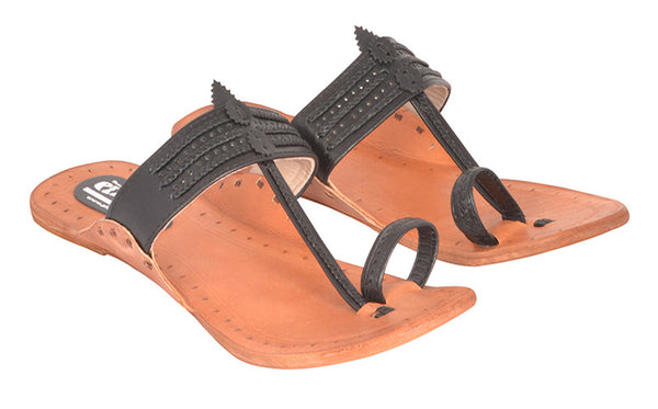 Women Black Tan Sole Kolhapuri Chappal