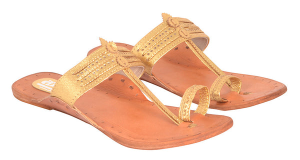 Women Gold Tan Sole Kolhapuri Chappal