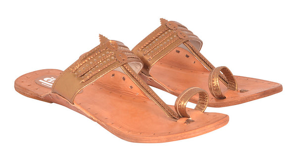 Women Copper Tan Sole Kolhapuri Chappal