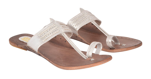 Women Silver Brown Sole Kolhapuri Chappal