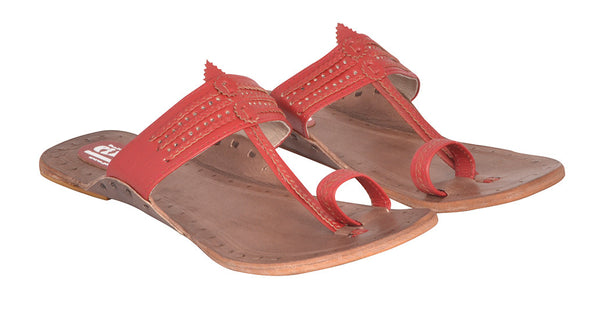 Women Red Brown Sole Kolhapuri Chappal
