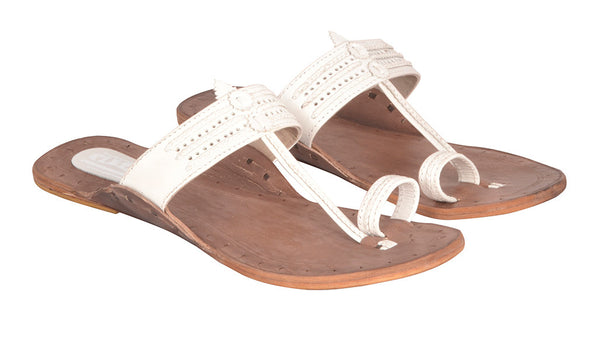 Women White Brown Sole Kolhapuri Chappal