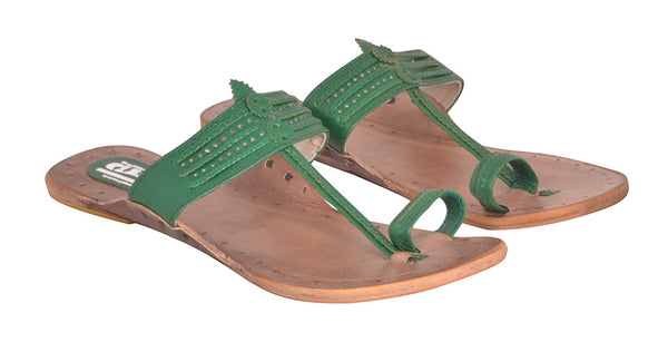 Women Green Brown Sole Kolhapuri Chappal