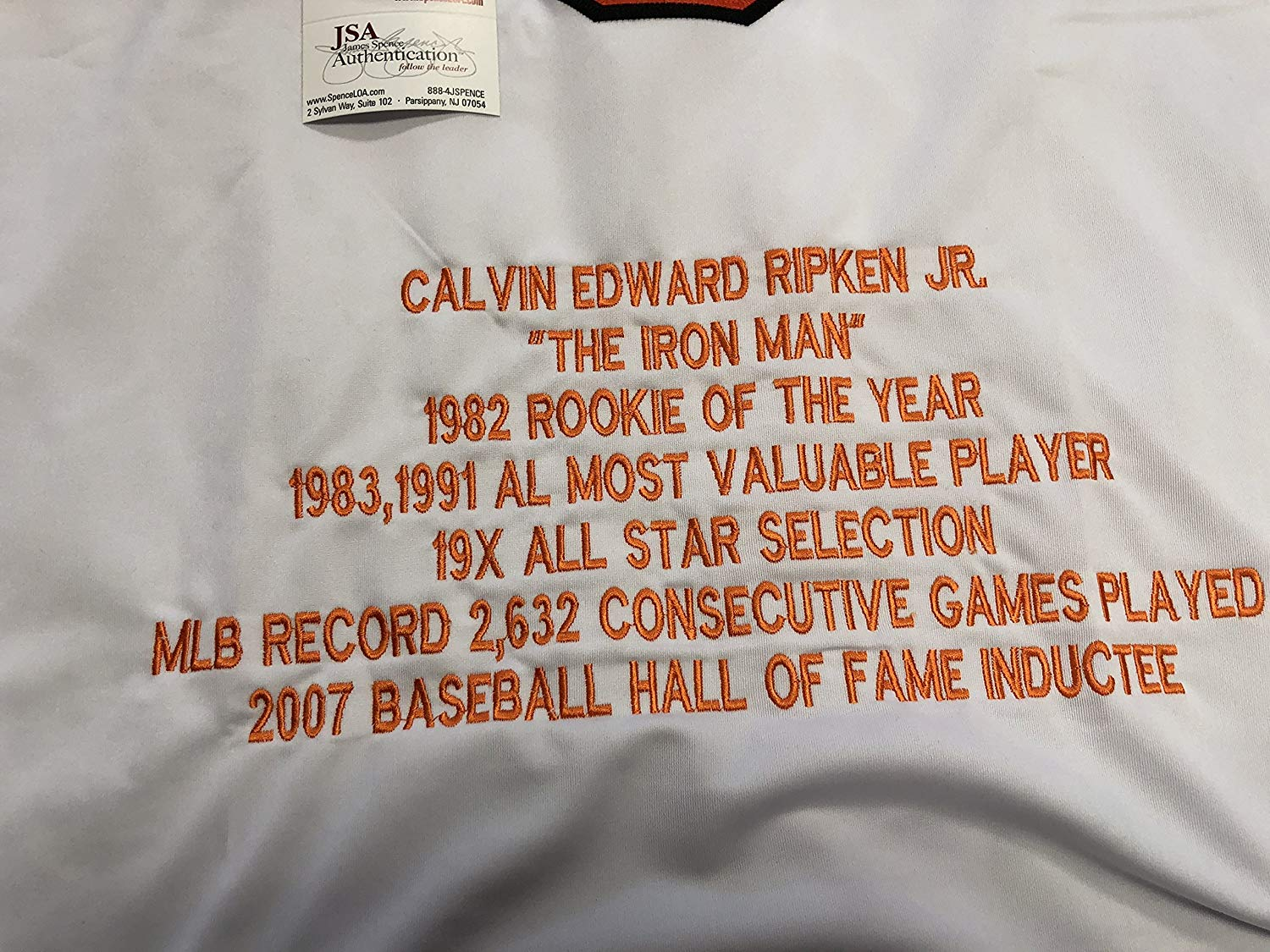 34b451785 Cal Ripken Jr. Autographed Signed Baltimore Orioles Custom White STAT –  Signature Dog Autographs