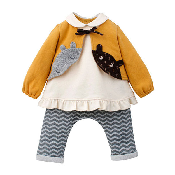 Twin Mouse Yellow Fluffy Top & Pants Set