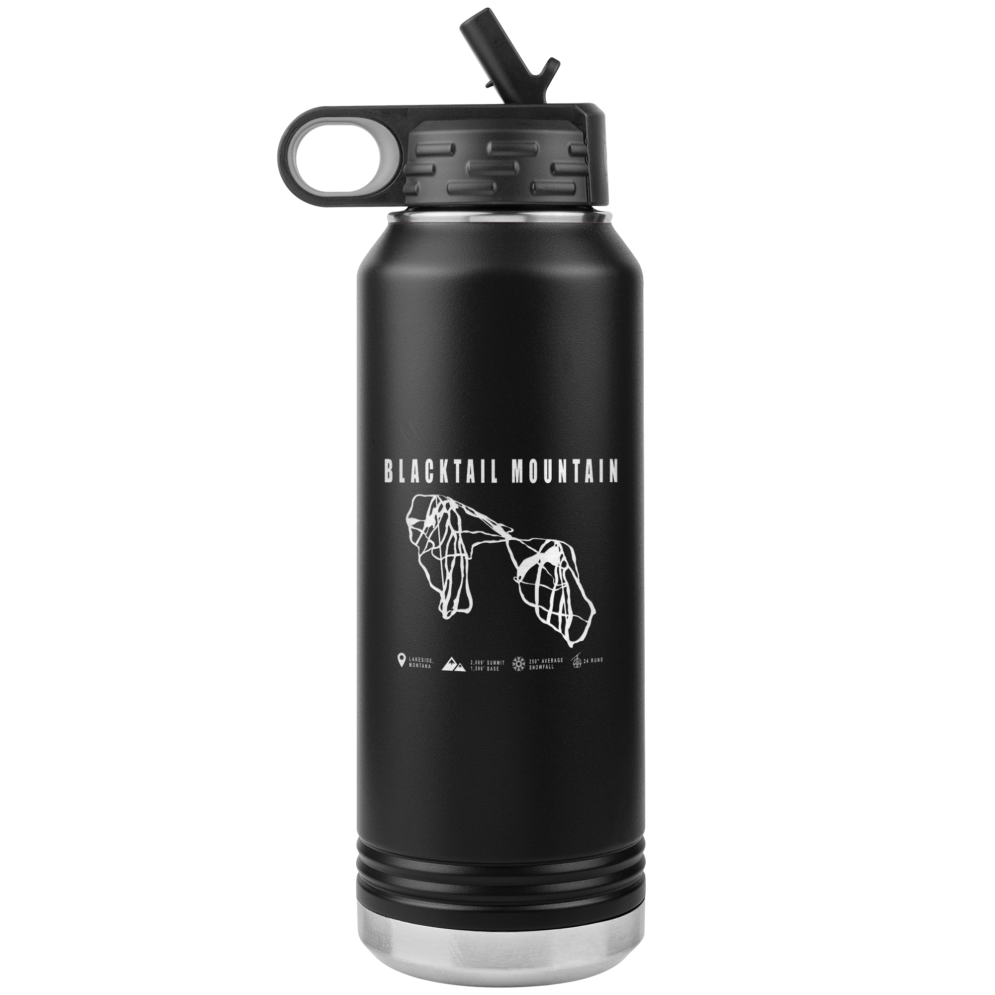 Blacktail Mountain Montana Ski-Resort Map 32oz Water Bottle Tumbler