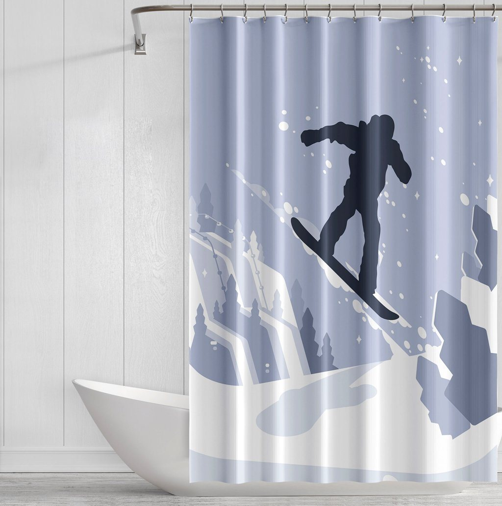 Snowboarder Playground Shower Curtains - Powderaddicts