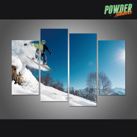 Snowboard Jump 4 Piece Canvas - Powderaddicts