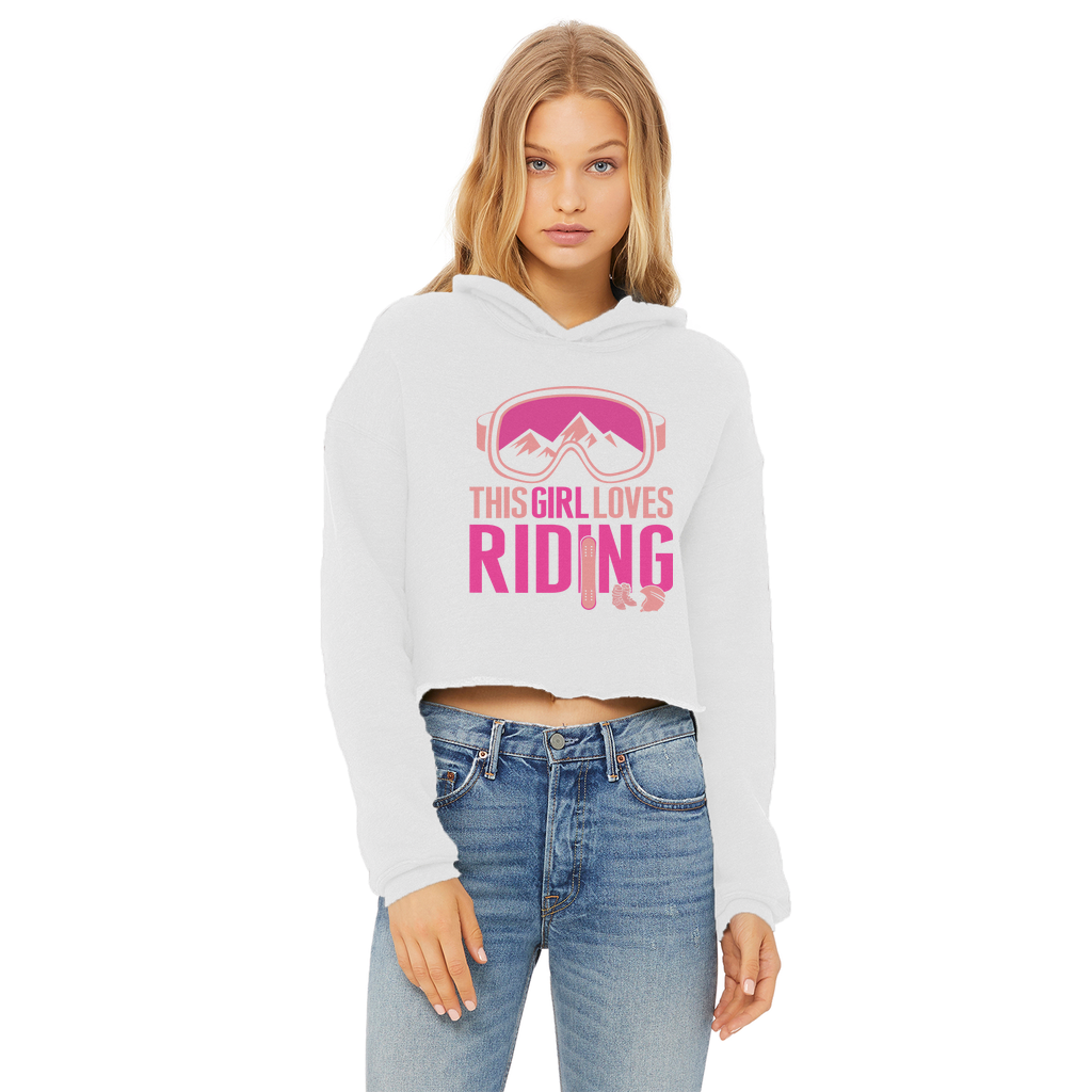This Girl Loves Riding Ladies Cropped Raw Edge Hoodie - Powderaddicts