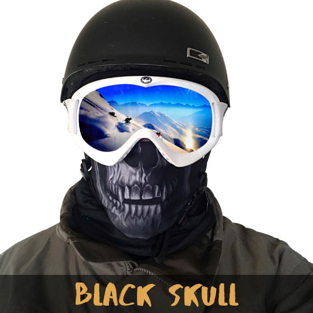 Black Skull Fleece Ski Gaiter - Powderaddicts