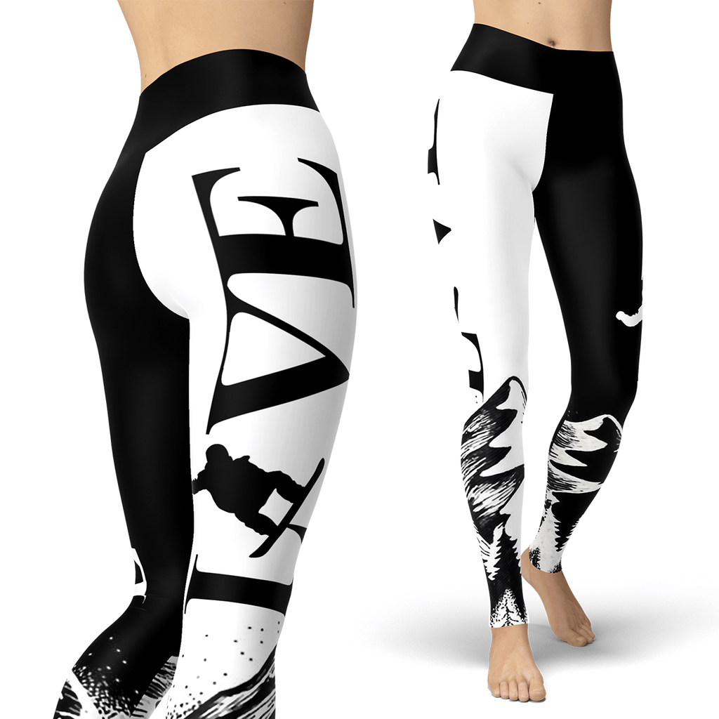 Love Snowboard Black and White Leggings