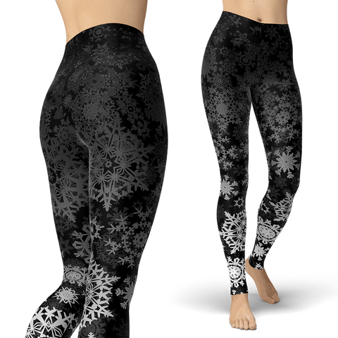 Black and Silver Snow Leggings