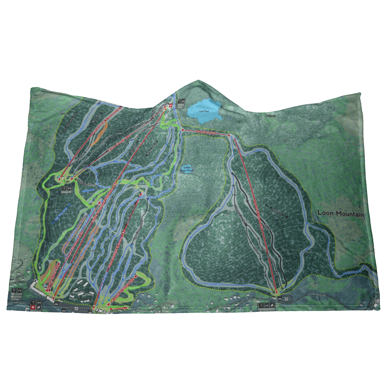 Loon Mountain, New Hampshire Ski Resort Map - Hooded Blanket