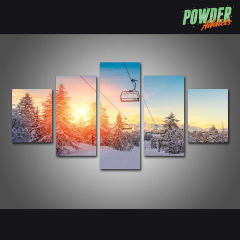 Chairlift Sunrise 5 Piece Canvas - Powderaddicts