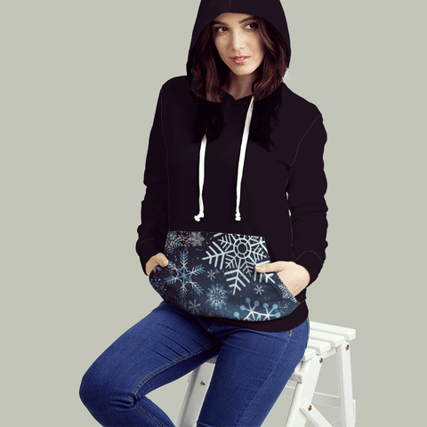 Blue Grunge Snow All Over Print Contrast Hoodie - Powderaddicts