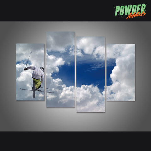 Skiing To The Sky 4 Piece Canvas - Powderaddicts