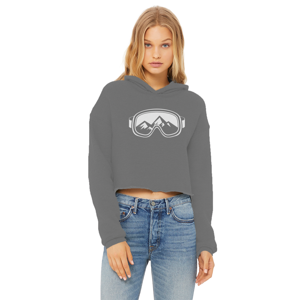 Ski Goggles Ladies Cropped Raw Edge Hoodie - Powderaddicts