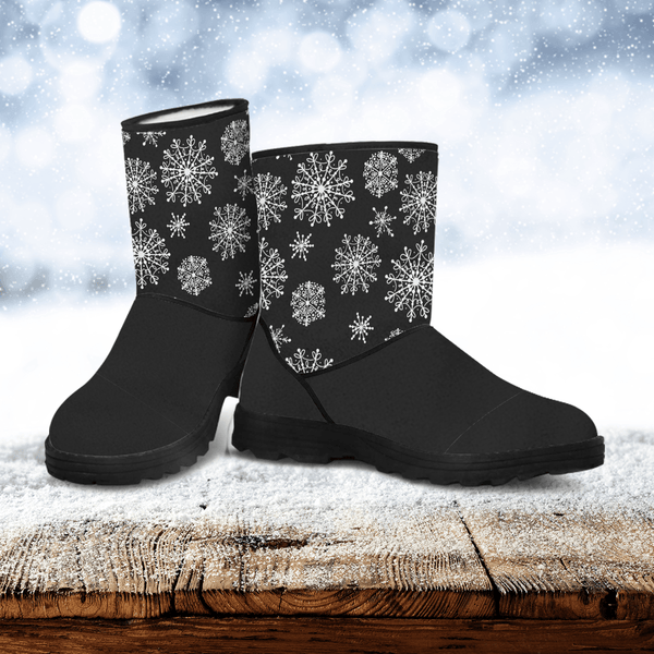 Snow on Black Faux Fur Boots