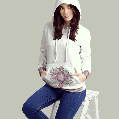 Snowflake Life All Over Print Contrast Hoodie - Powderaddicts