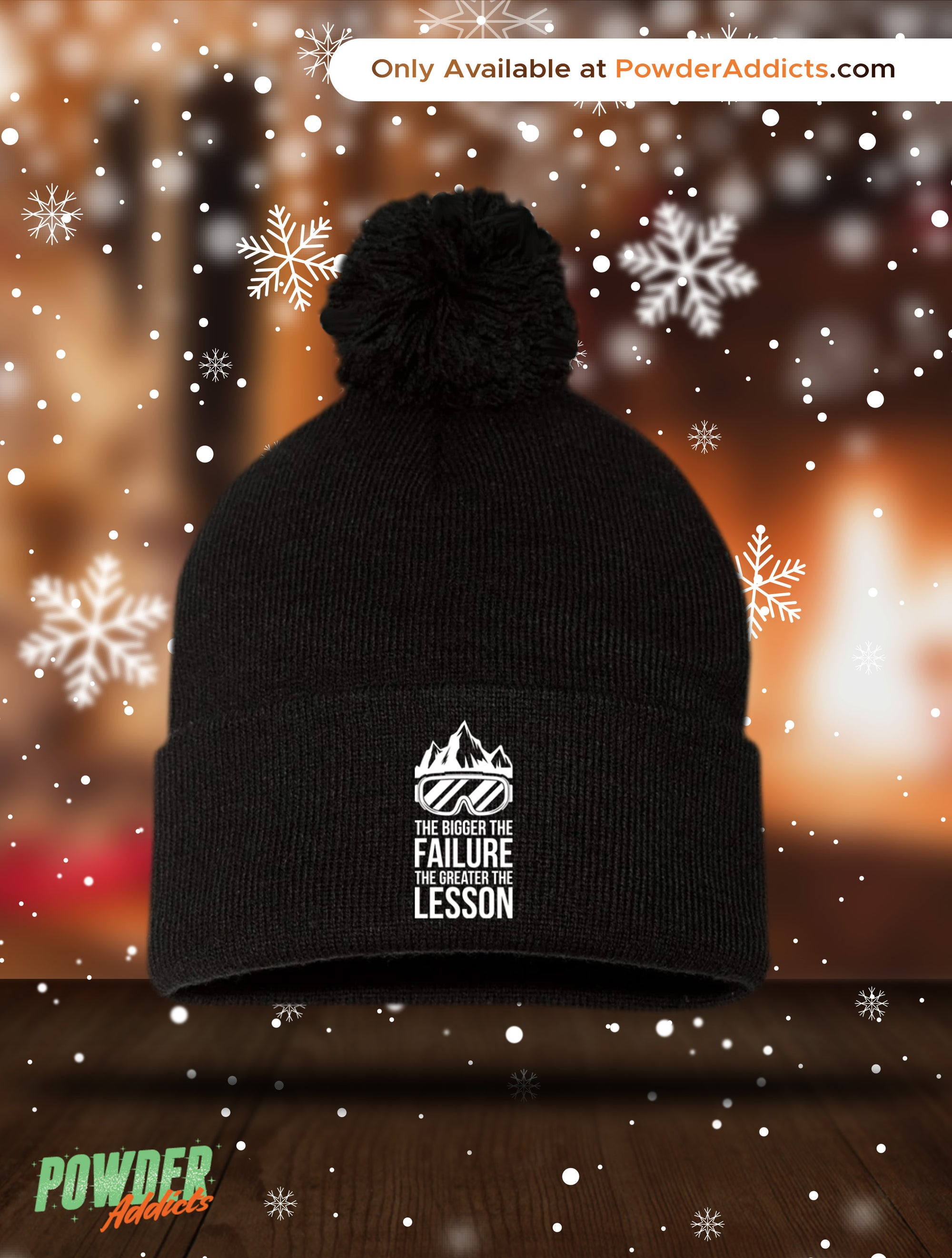The Bigger The Failure The Greater The Lesson Pom Pom Knit Cap - Powderaddicts
