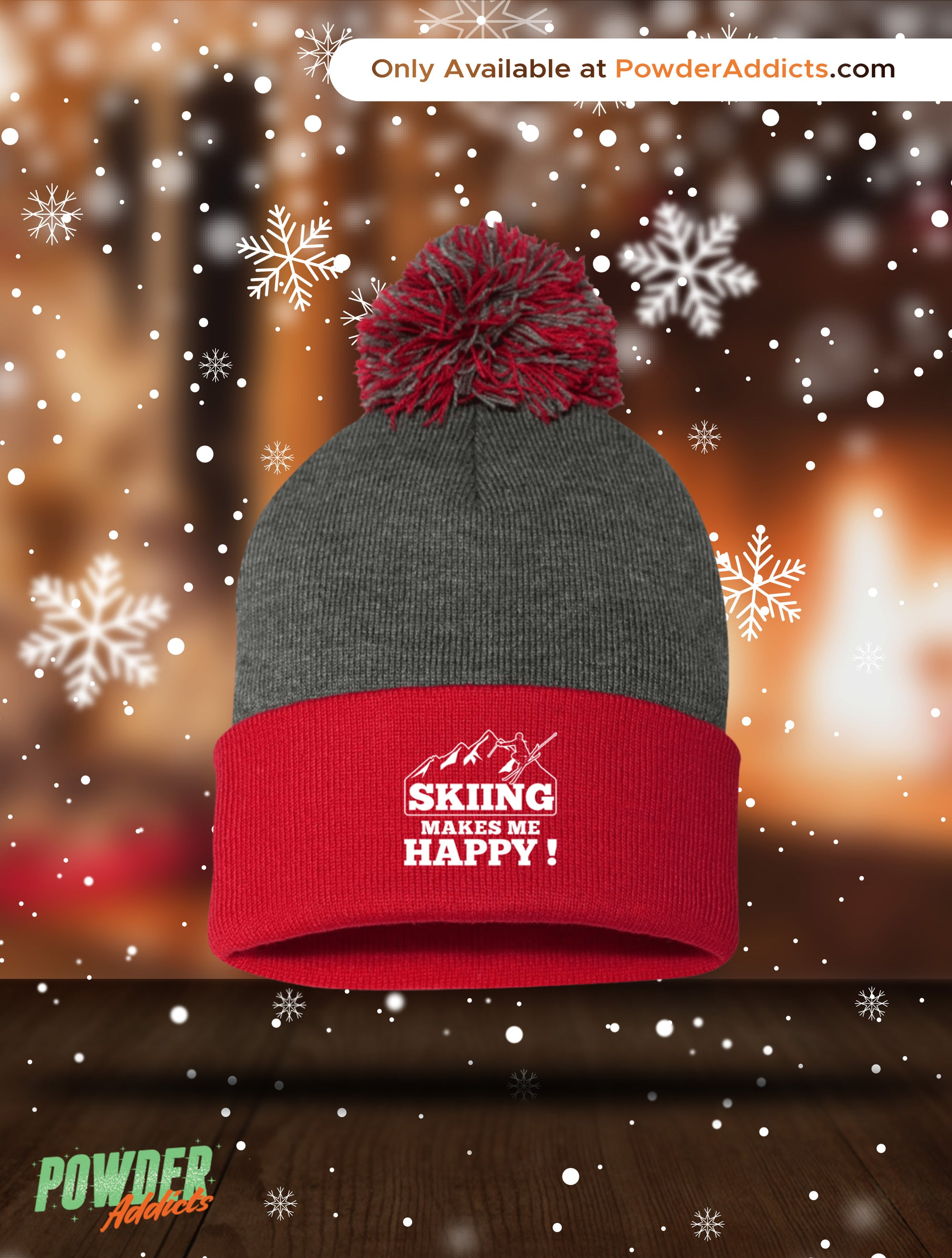 Skiing Makes Me Happy Pom Pom Knit Cap - Powderaddicts