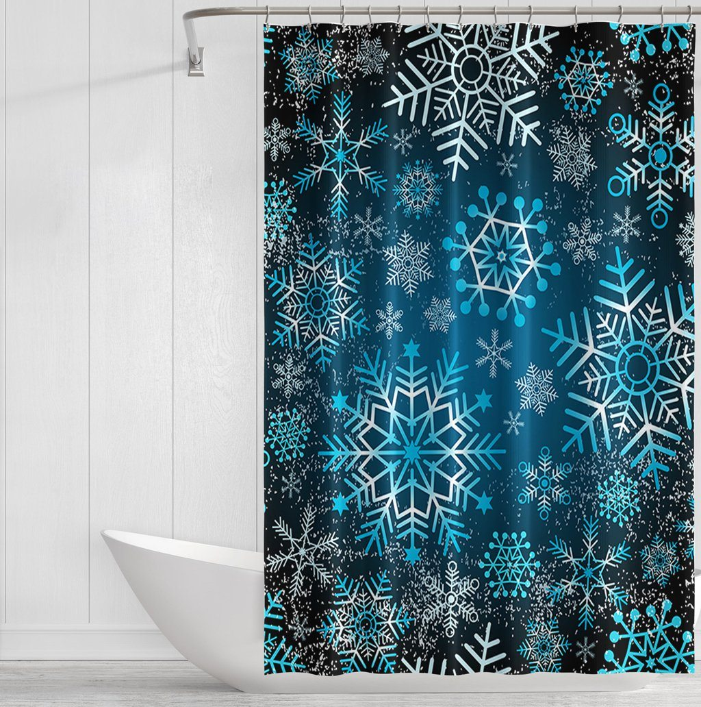 Blue Grunge Snow Shower Curtains - Powderaddicts