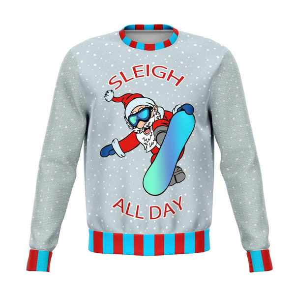 Sleigh All Day Snowboard Ugly Christmas Sweater Order By December 12 - Powderaddicts