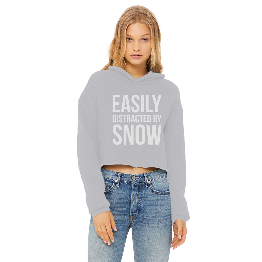 Easily Distracted By Snow Ladies Cropped Raw Edge Hoodie - Powderaddicts