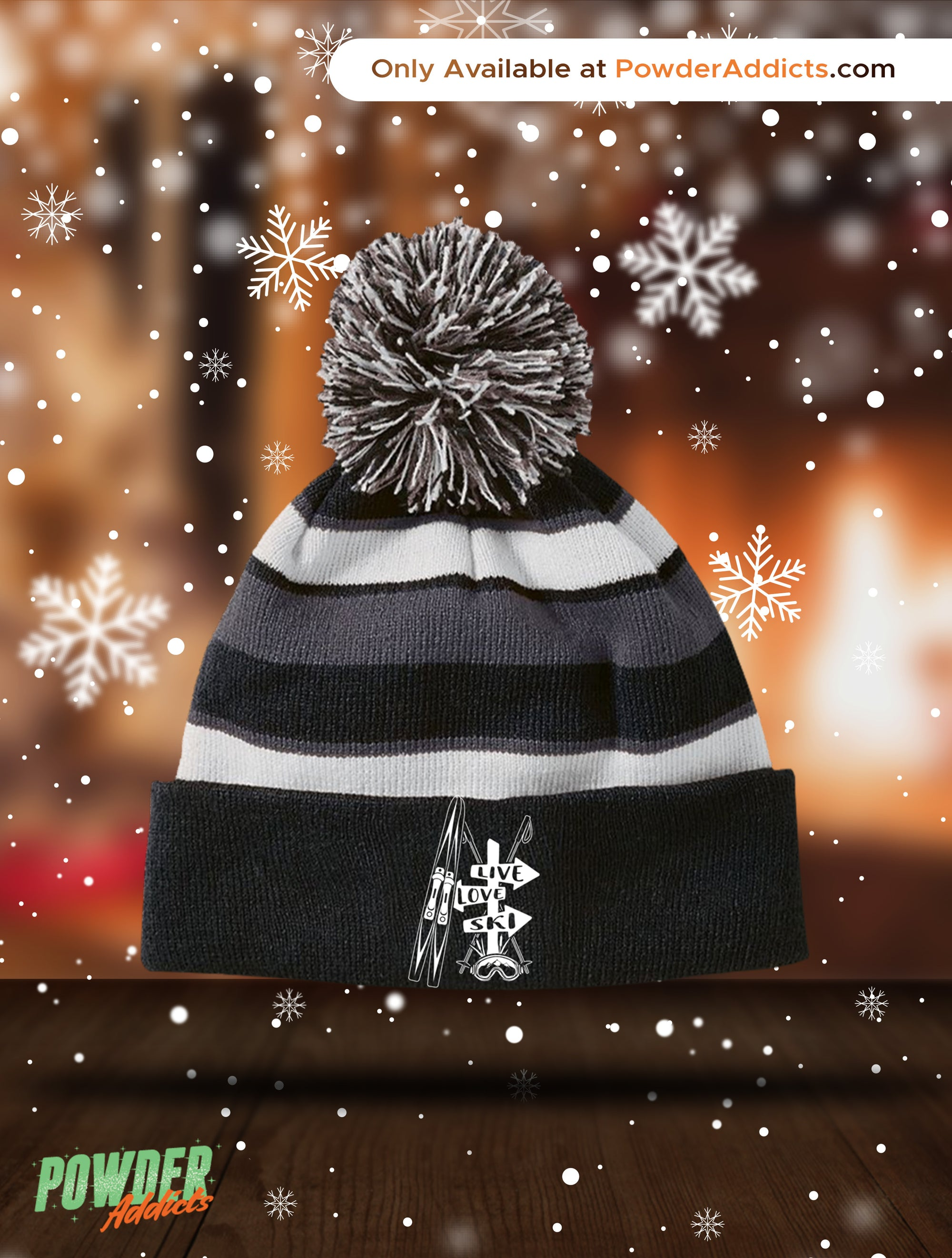 Live Love Ski Striped Beanie - Powderaddicts