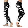 Love Snowboard All Black Leggings - Powderaddicts
