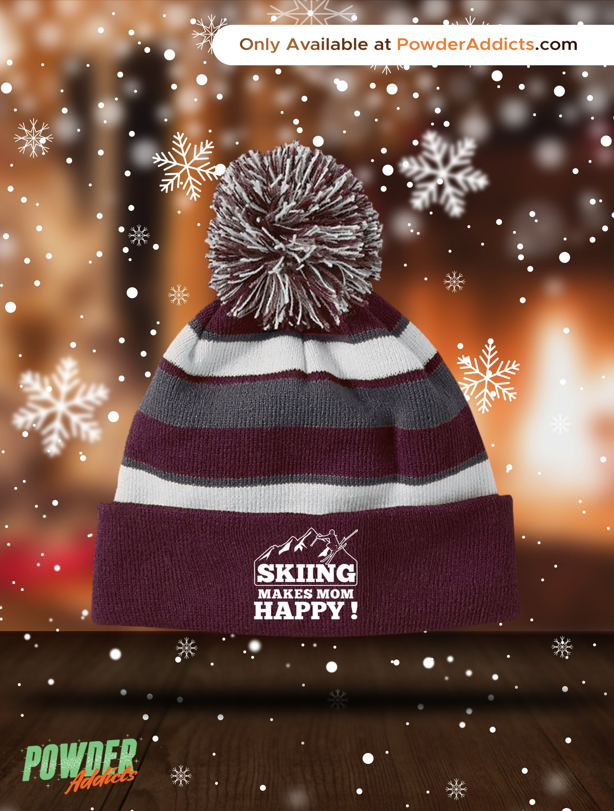 Skiing Makes Mom Happy Striped Beanie - Powderaddicts