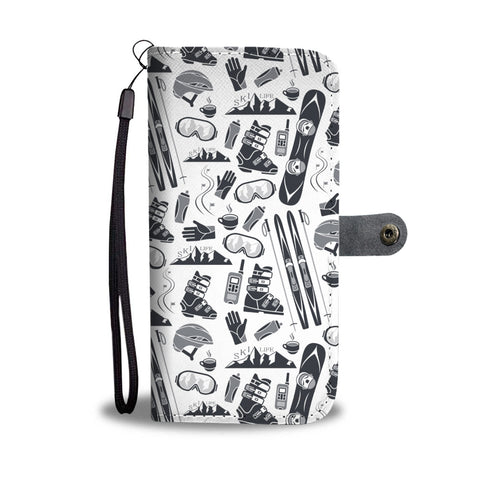 Ski And Snowboard Patterns Phone Wallet Case - Powderaddicts