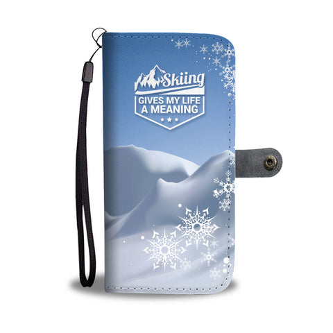 Skiing Gives My Life A Meaning Phone Wallet Case - Powderaddicts