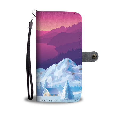 Pink Sunset On Snow Mountains Phone Wallet Case - Powderaddicts