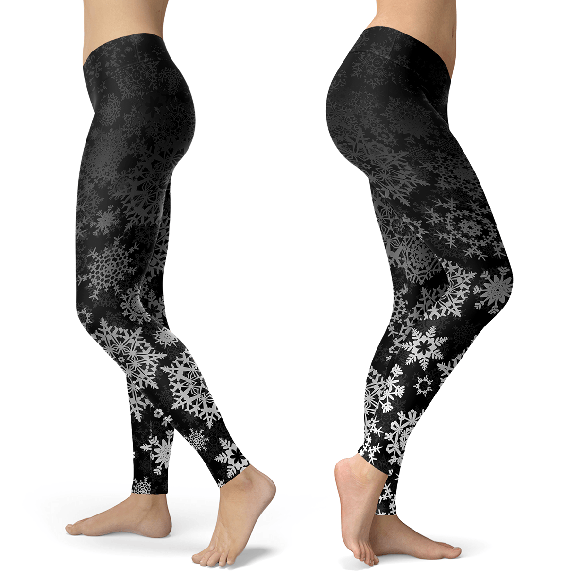 Black and Silver Snow Leggings - Powderaddicts