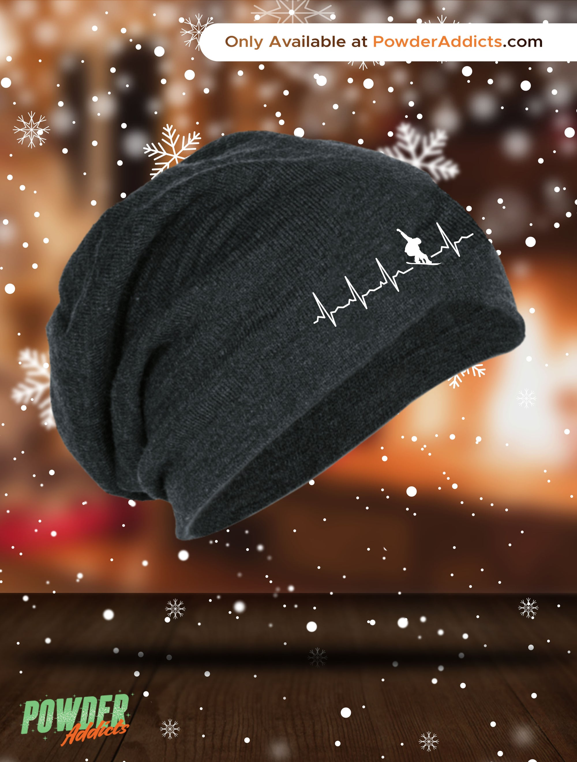 Snowboard is My Heartbeat Slouch Beanie - Powderaddicts