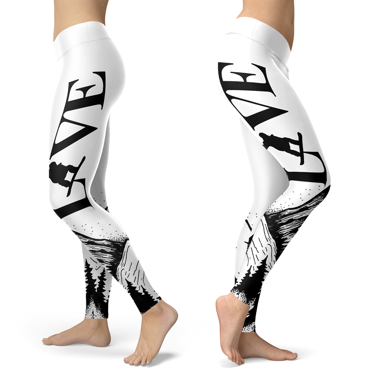 Love Snowboard All White Leggings - Powderaddicts