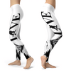 Love Snowboard Black and White Leggings - Powderaddicts