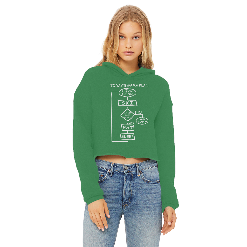 Today's Gameplan - Skiing Ladies Cropped Raw Edge Hoodie - Powderaddicts