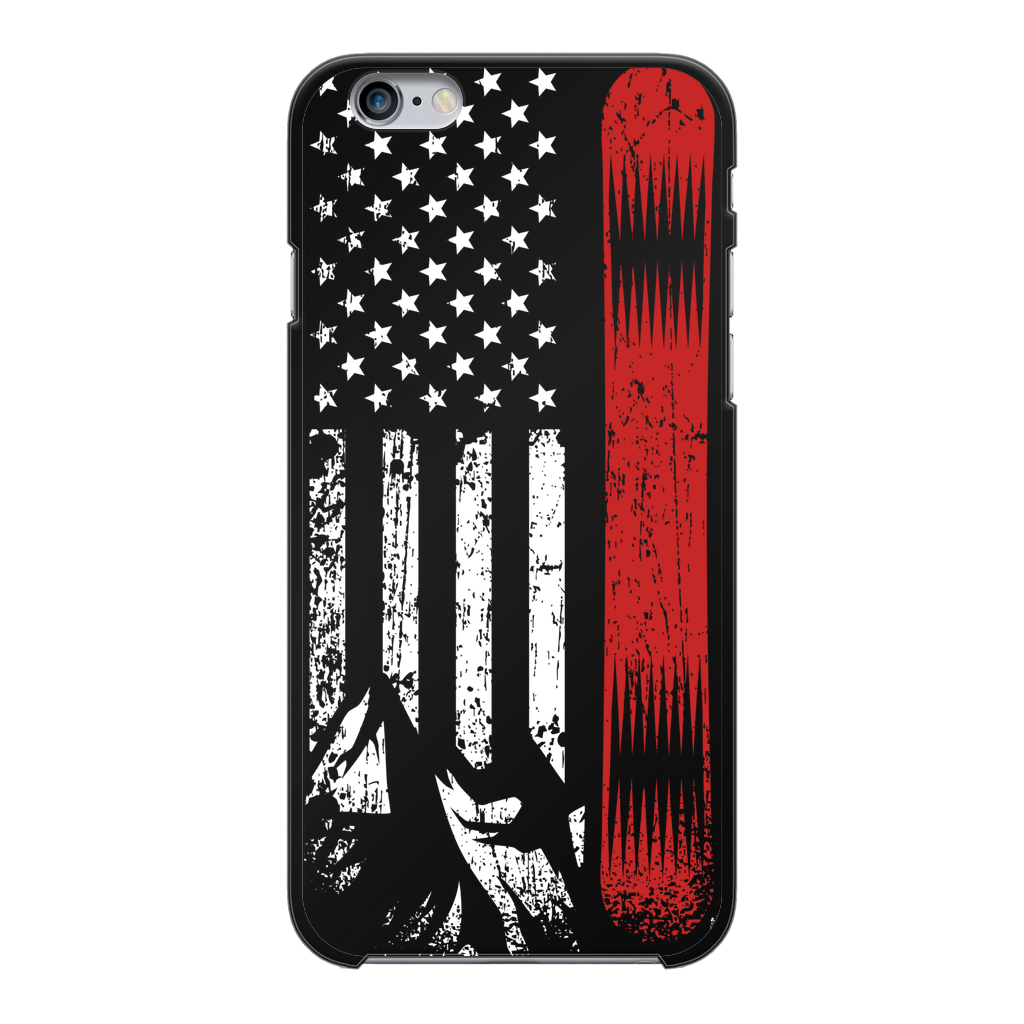 USA Snowboard Flag Thin Red Line Black Hard Phone Case - Powderaddicts