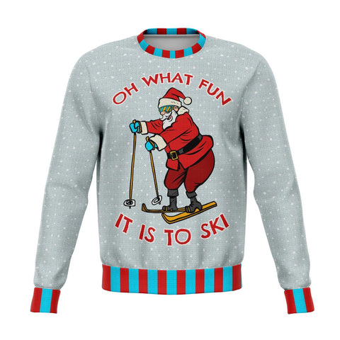 Oh What Fun It Is To Ski Ugly Christmas Sweater - Powderaddicts