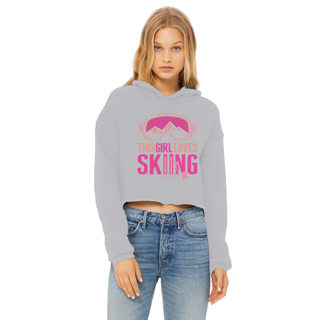 This Girl Loves Skiing Ladies Cropped Raw Edge Hoodie - Powderaddicts