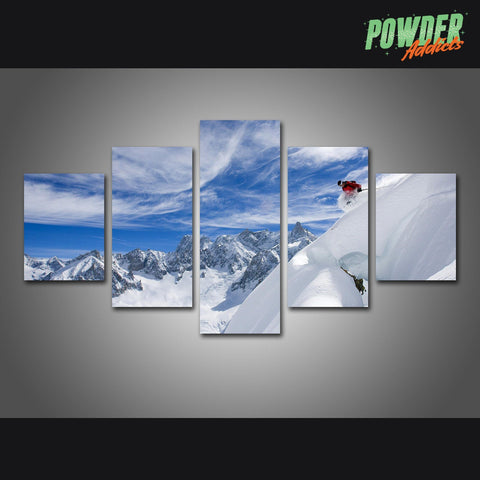 Skis and Sky 5 Piece Canvas - Powderaddicts