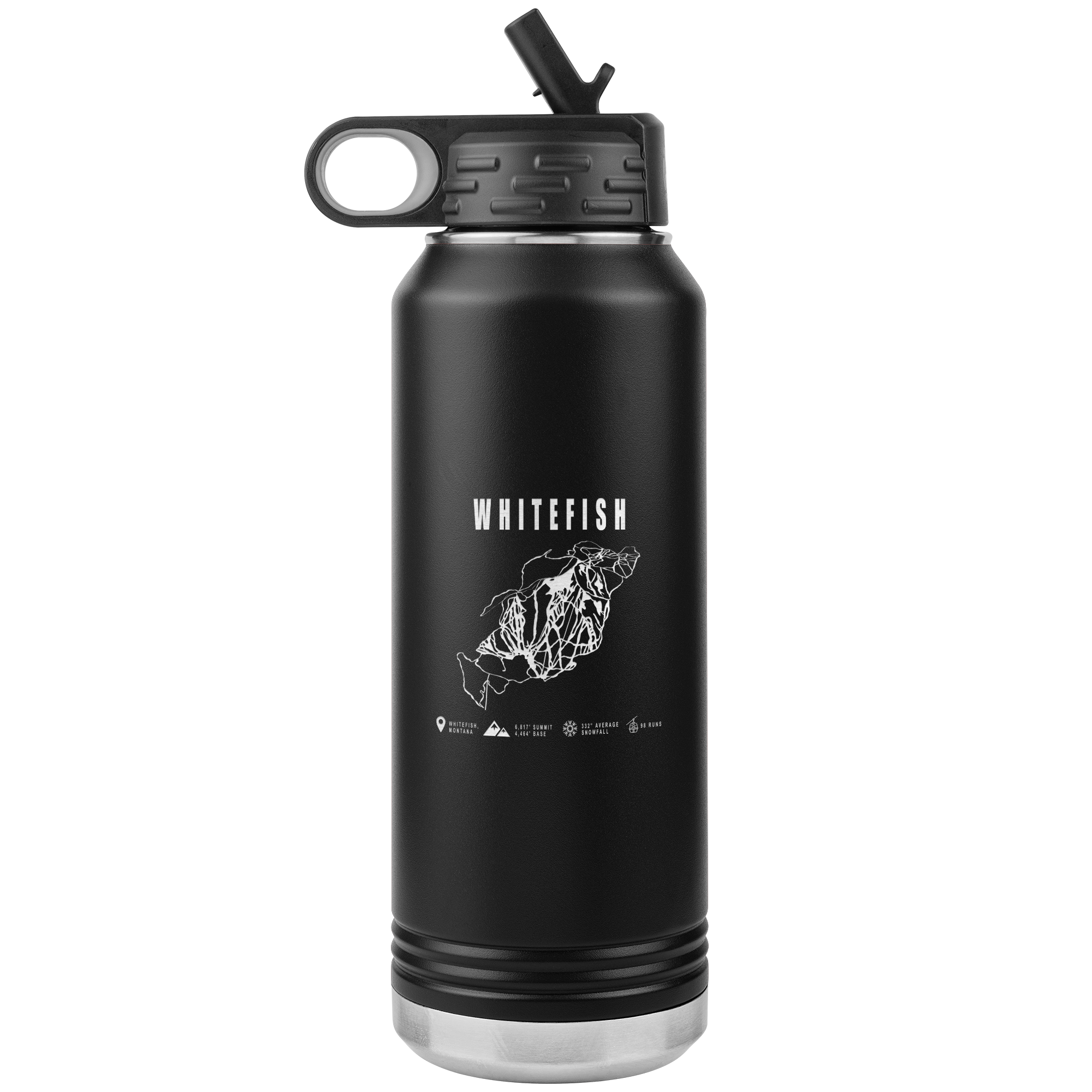 Whitefish Montana Ski-Resort Map 32oz Water Bottle Tumbler