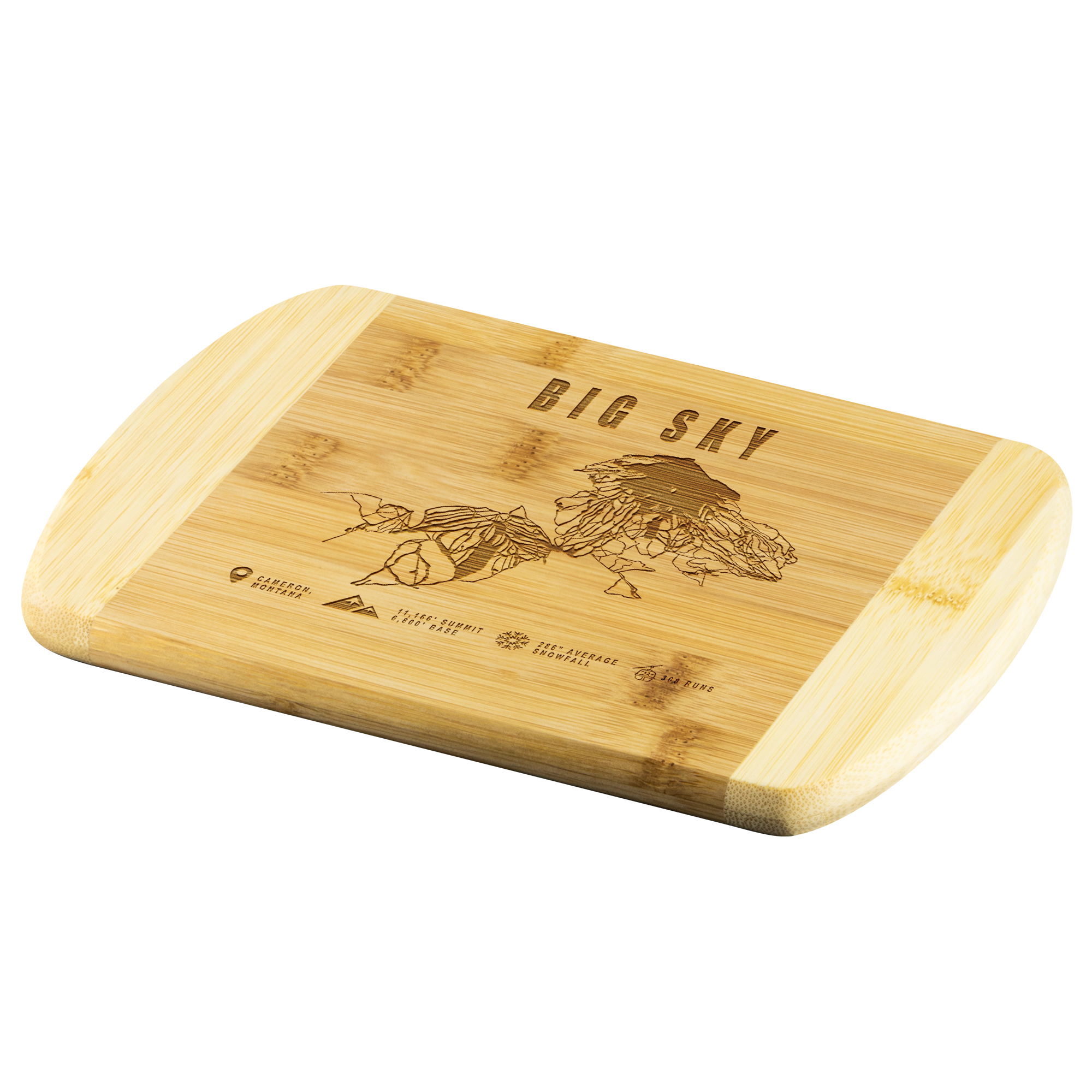 Big Sky Montana Ski-Resort Map Bamboo Cutting Board Round Edge