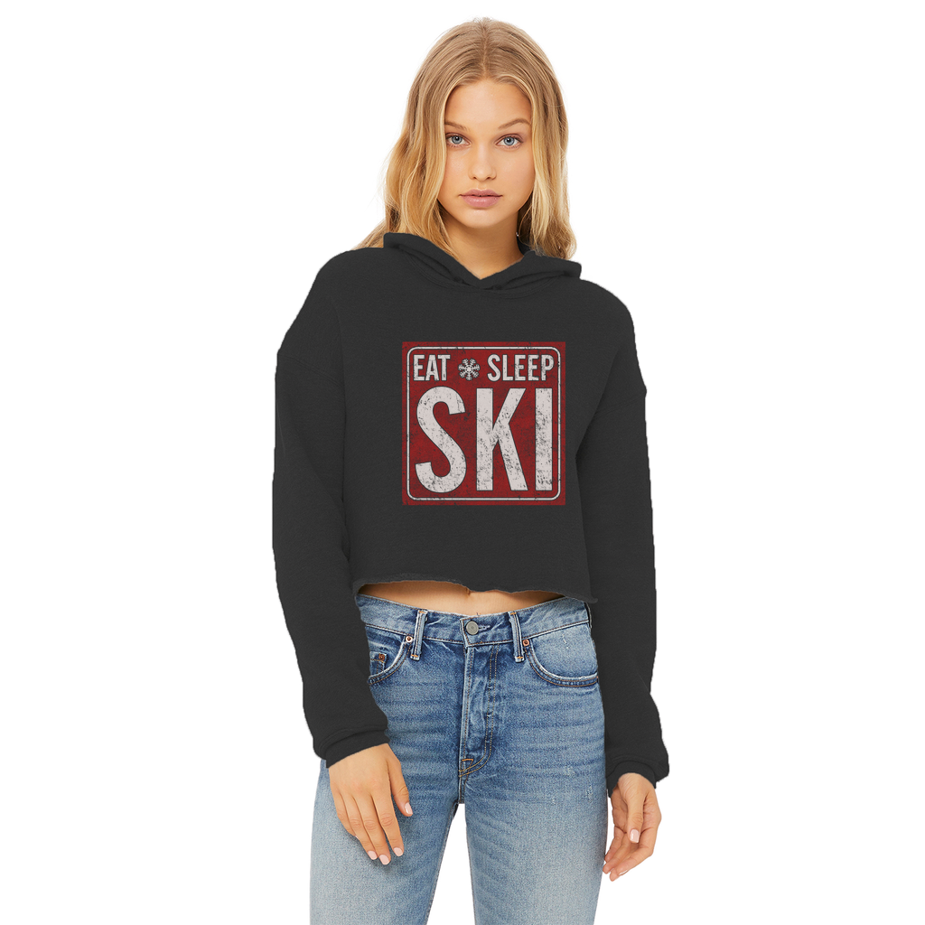 Eat Sleep Ski Ladies Cropped Raw Edge Hoodie - Powderaddicts