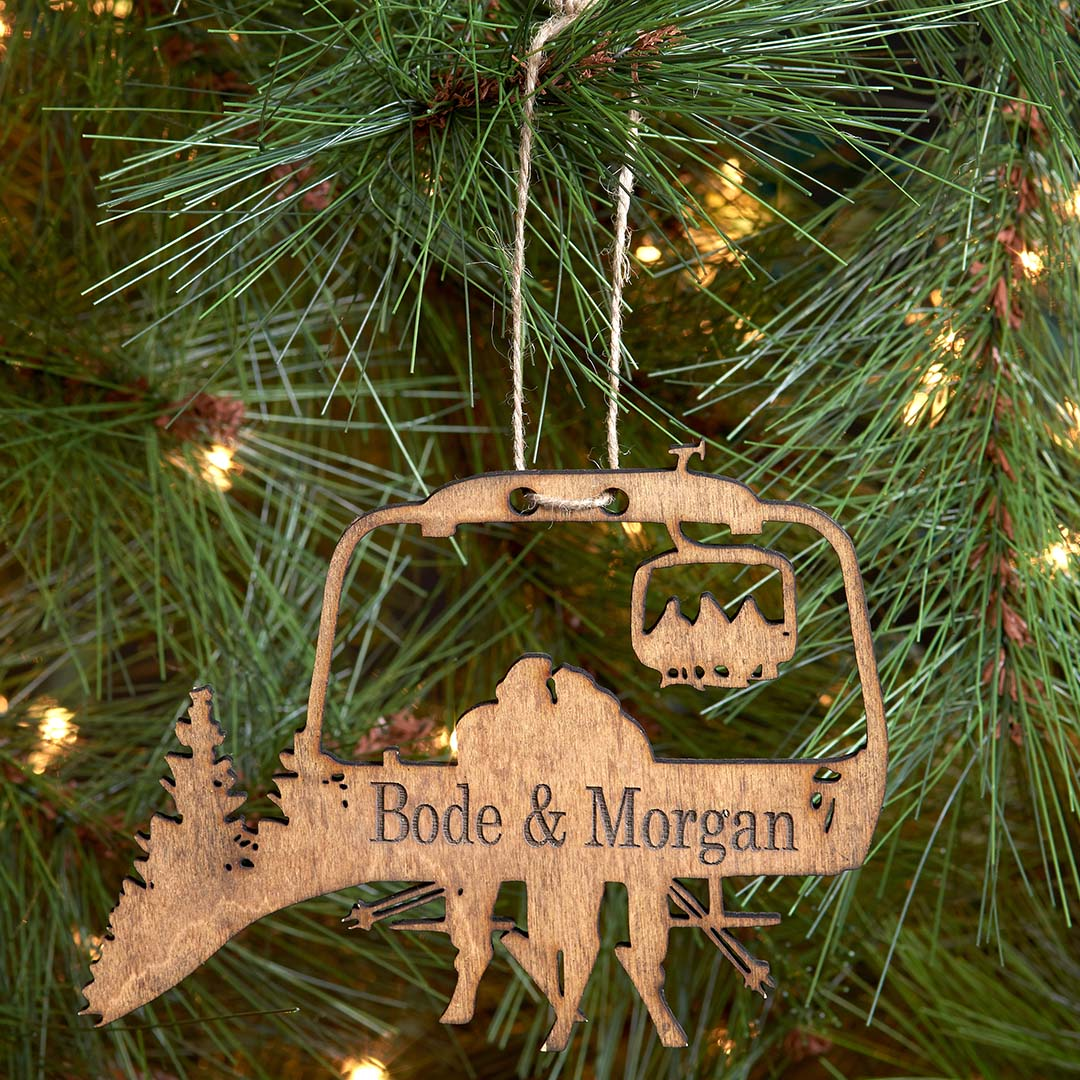 PERSONALIZED Chairlift Ski & Snowboard Couple Christmas Ornament (🇺🇸  Made In The USA)