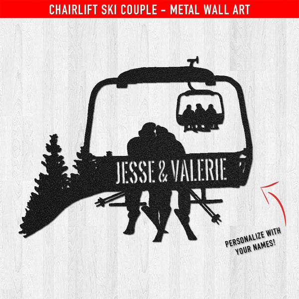 PERSONALIZED Chairlift Ski Couple Metal Wall Art (🇺🇸  Made In The USA) - Powderaddicts